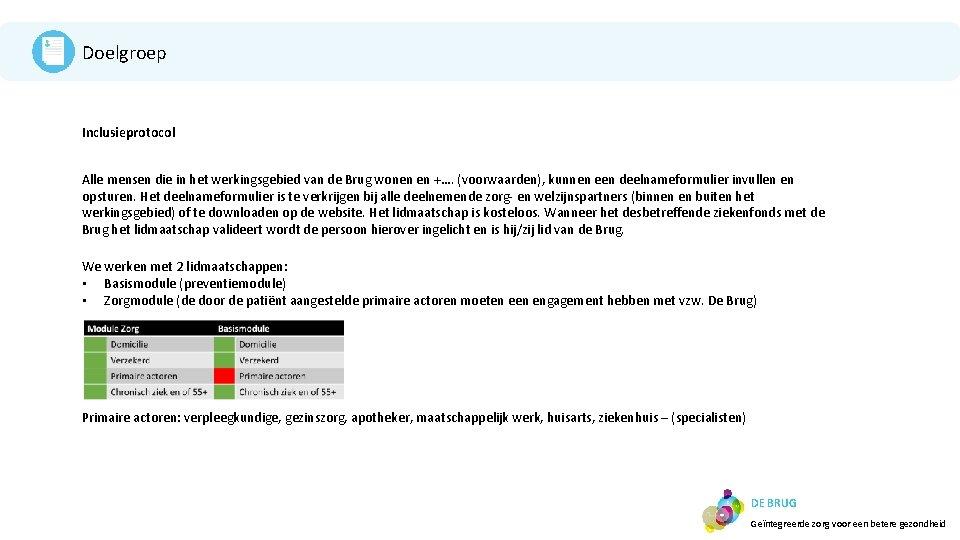 Doelgroep Inclusieprotocol Alle mensen die in het werkingsgebied van de Brug wonen en +….