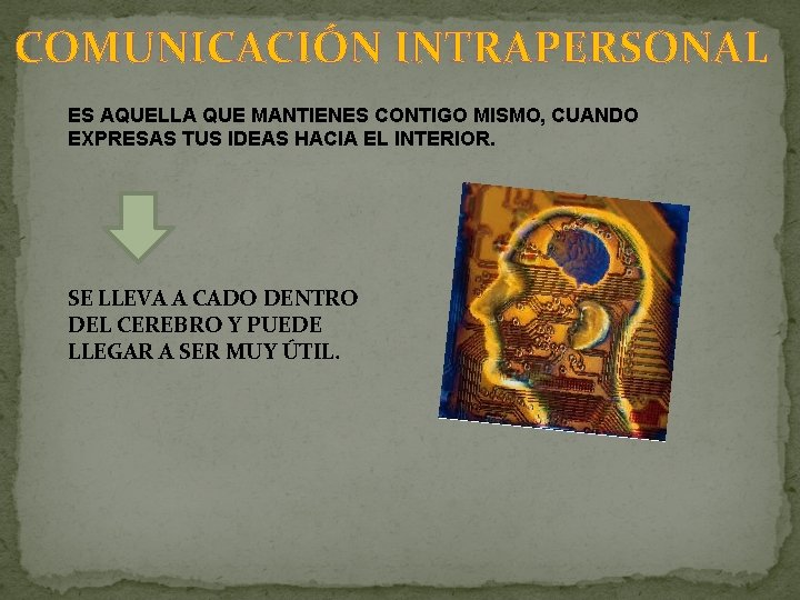 COMUNICACIÓN INTRAPERSONAL ES AQUELLA QUE MANTIENES CONTIGO MISMO, CUANDO EXPRESAS TUS IDEAS HACIA EL
