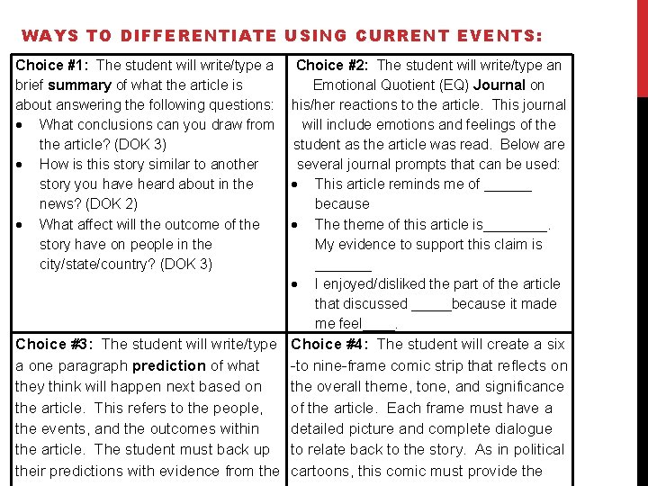 WAYS TO DIFFERENTIATE USING CURRENT EVENTS: Choice #1: The student will write/type a brief