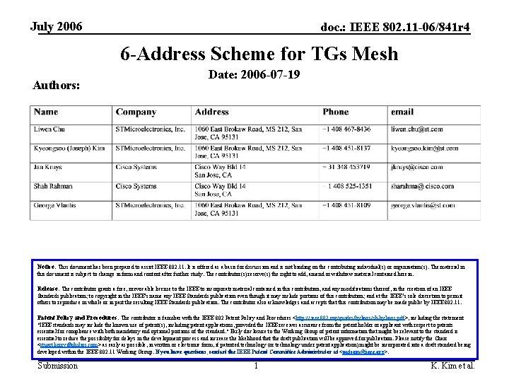July 2006 doc. : IEEE 802. 11 -06/841 r 4 6 -Address Scheme for