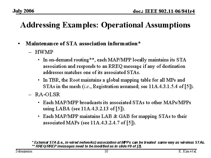 July 2006 doc. : IEEE 802. 11 -06/841 r 4 Addressing Examples: Operational Assumptions