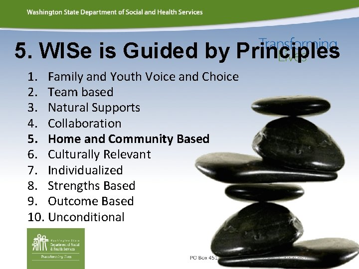 5. WISe is Guided by Principles 1. Family and Youth Voice and Choice 2.