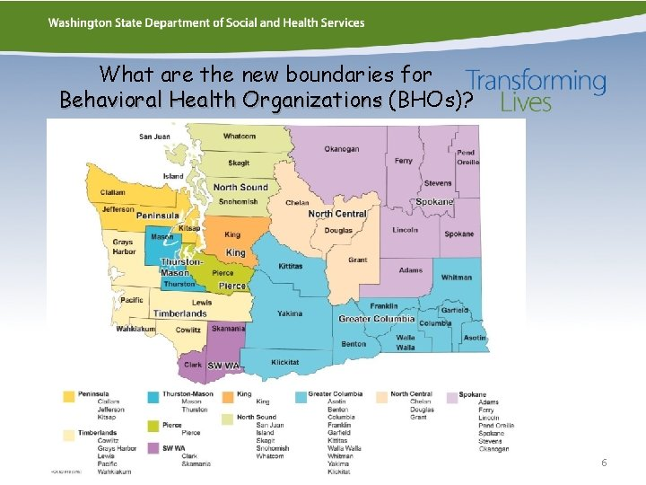 What are the new boundaries for Behavioral Health Organizations (BHOs)? 6
