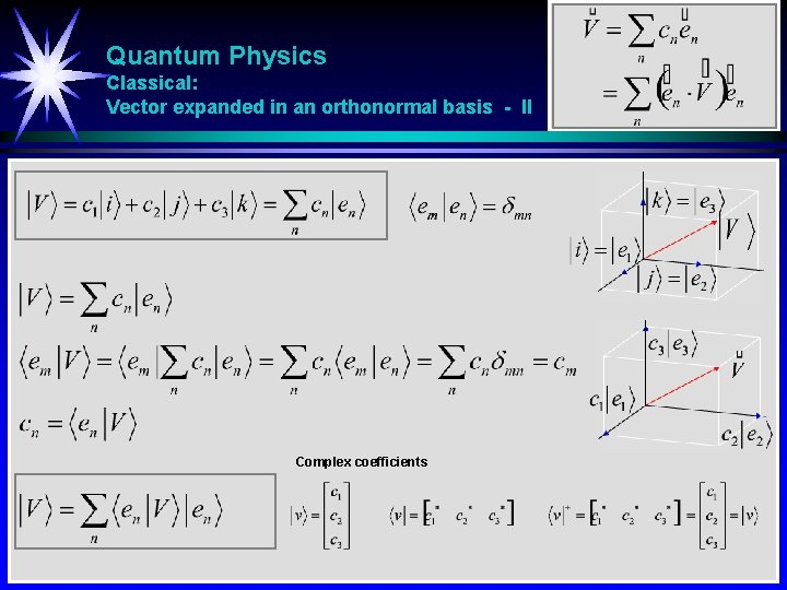 Quantum Physics Classical: Vector expanded in an orthonormal basis - II Complex coefficients