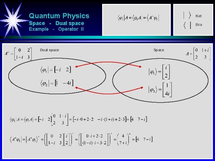 Quantum Physics Ket Space - Dual space Bra Example - Operator II Dual space
