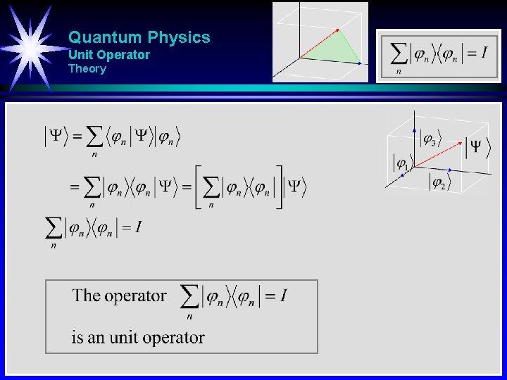 Quantum Physics Unit Operator Theory