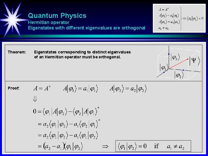 Quantum Physics Hermitian operator Eigenstates with different eigenvalues are orthogonal Theorem: Proof: Eigenstates corresponding