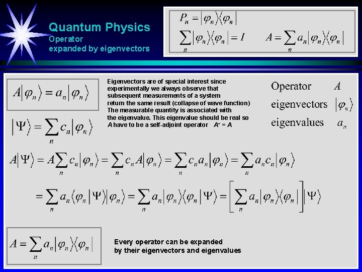 Quantum Physics Operator expanded by eigenvectors Eigenvectors are of special interest since experimentally we