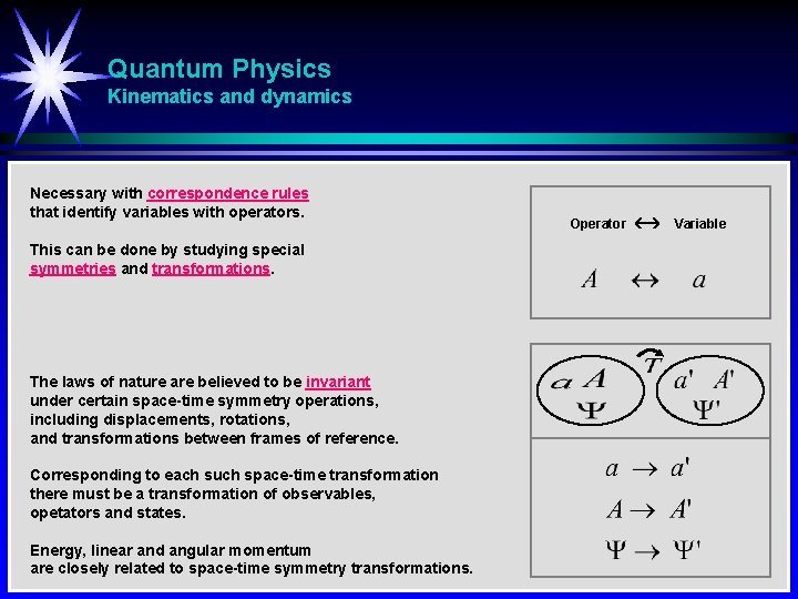 Quantum Physics Kinematics and dynamics Necessary with correspondence rules that identify variables with operators.