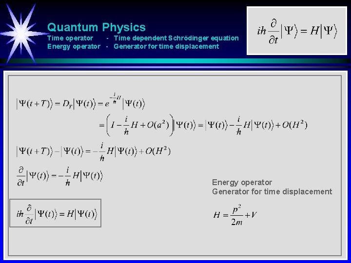Quantum Physics Time operator - Time dependent Schrödinger equation Energy operator - Generator for