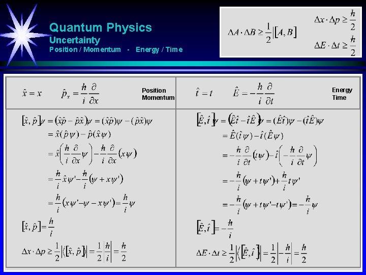Quantum Physics Uncertainty Position / Momentum - Energy / Time Position Momentum Energy Time