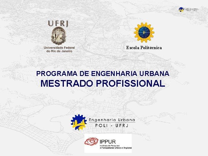Escola Politécnica PROGRAMA DE ENGENHARIA URBANA MESTRADO PROFISSIONAL
