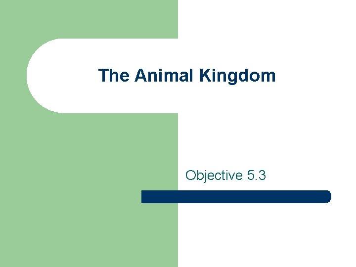 The Animal Kingdom Objective 5. 3