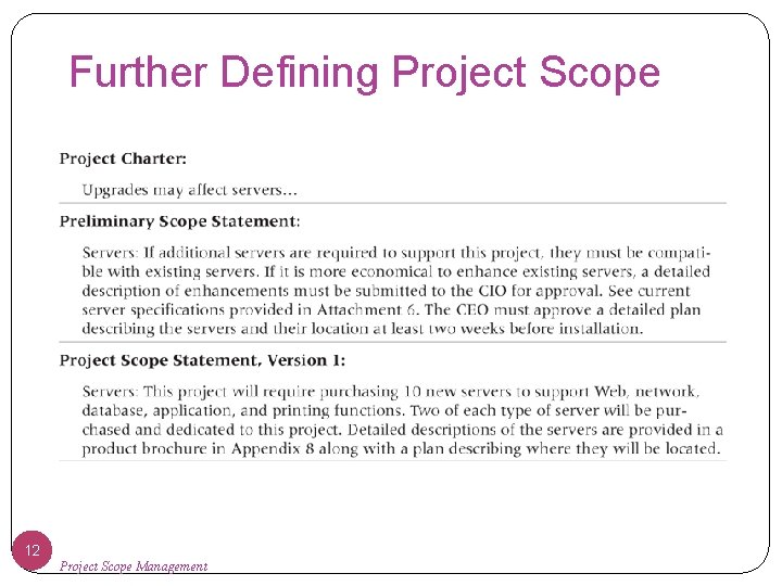 Further Defining Project Scope 12 Project Scope Management