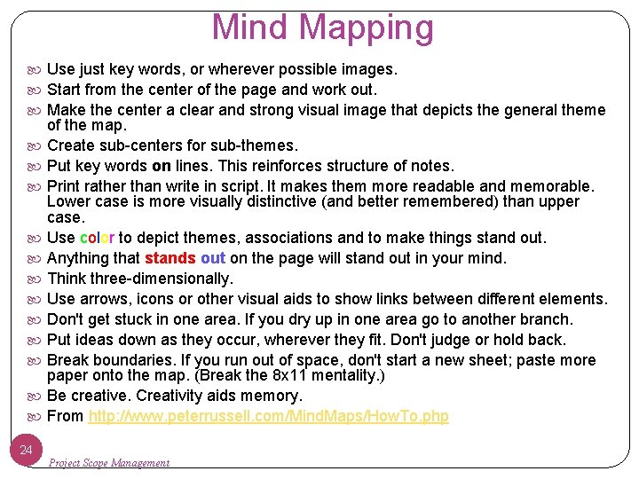 Mind Mapping Use just key words, or wherever possible images. Start from the center
