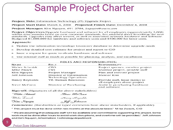 Sample Project Charter 9 Project Scope Management