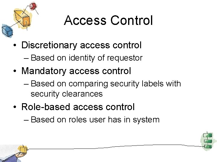 Access Control • Discretionary access control – Based on identity of requestor • Mandatory