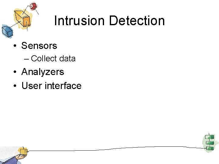 Intrusion Detection • Sensors – Collect data • Analyzers • User interface