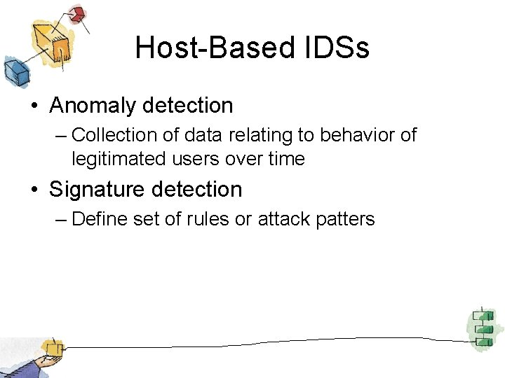 Host-Based IDSs • Anomaly detection – Collection of data relating to behavior of legitimated