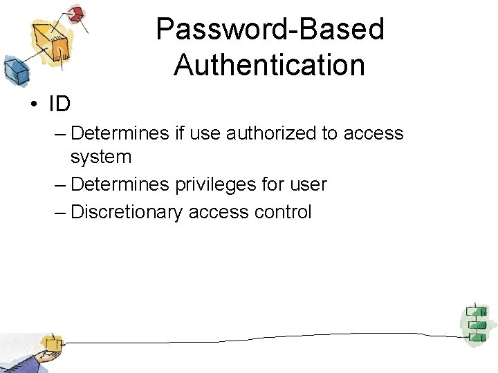 Password-Based Authentication • ID – Determines if use authorized to access system – Determines