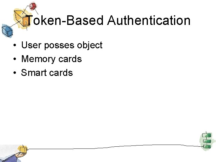Token-Based Authentication • User posses object • Memory cards • Smart cards