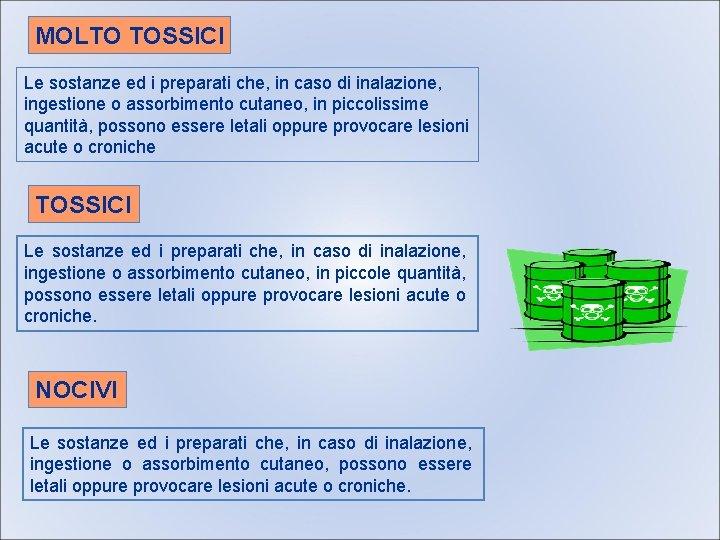 MOLTO TOSSICI Le sostanze ed i preparati che, in caso di inalazione, ingestione o