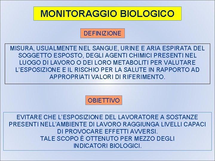 MONITORAGGIO BIOLOGICO DEFINIZIONE MISURA, USUALMENTE NEL SANGUE, URINE E ARIA ESPIRATA DEL SOGGETTO ESPOSTO,