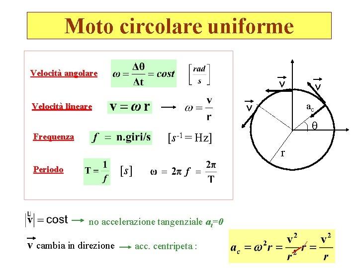 Moto circolare uniforme Velocità angolare v v Velocità lineare ac [s-1 = Hz] Frequenza