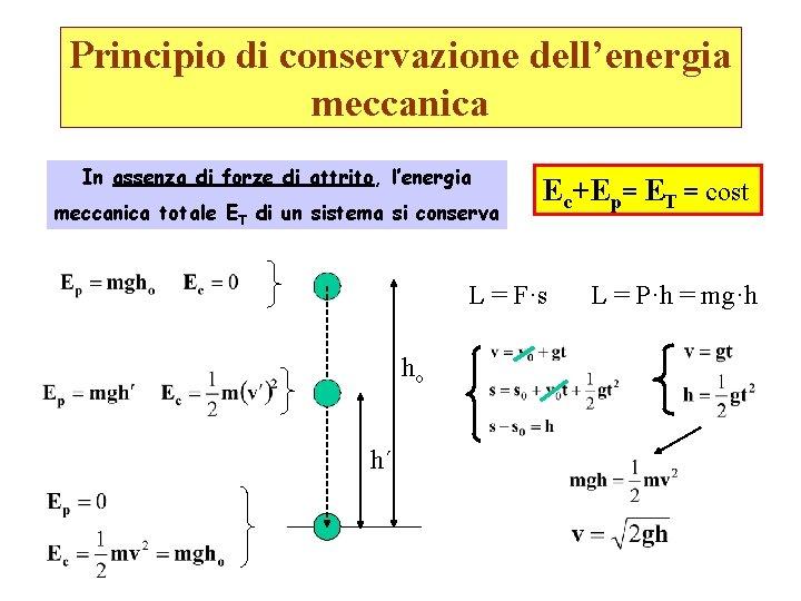 Principio di conservazione dell'energia meccanica In assenza di forze di attrito, l'energia meccanica totale