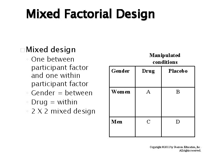 Mixed Factorial Design � Mixed design ◦ One between participant factor and one within