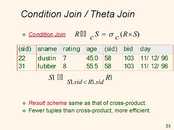 Condition Join / Theta Join v Condition Join: v Result schema same as that