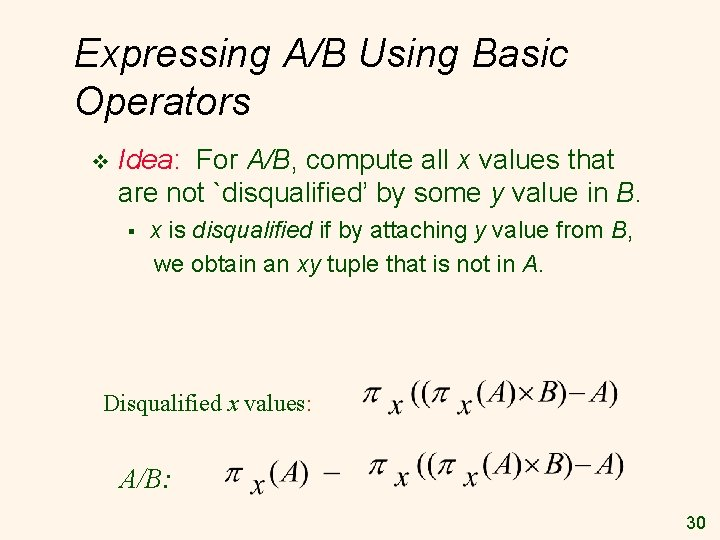 Expressing A/B Using Basic Operators v Idea: For A/B, compute all x values that