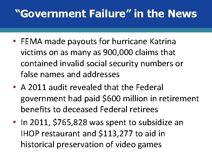 """Government Failure"" in the News • FEMA made payouts for hurricane Katrina victims on"