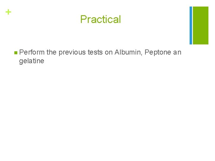 + Practical n Perform gelatine the previous tests on Albumin, Peptone an