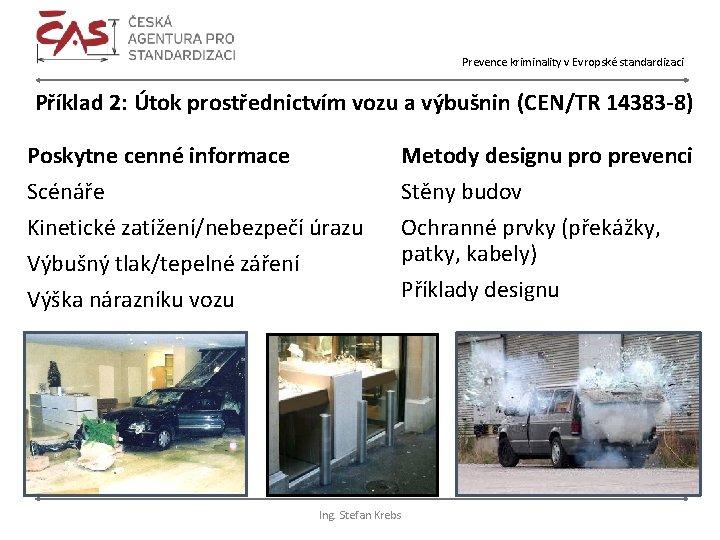 Prevence kriminality v Evropské standardizaci Příklad 2: Útok prostřednictvím vozu a výbušnin (CEN/TR 14383