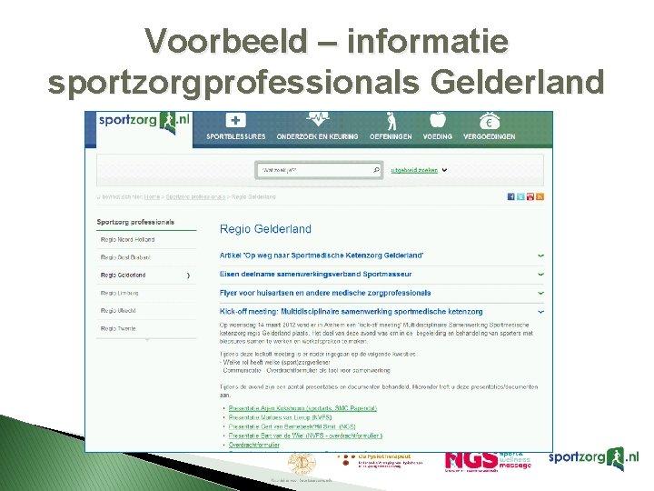 Voorbeeld – informatie sportzorgprofessionals Gelderland