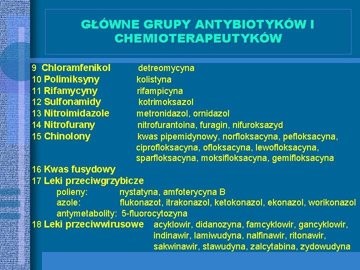 GŁÓWNE GRUPY ANTYBIOTYKÓW I CHEMIOTERAPEUTYKÓW 9 Chloramfenikol 10 Polimiksyny 11 Rifamycyny 12 Sulfonamidy 13
