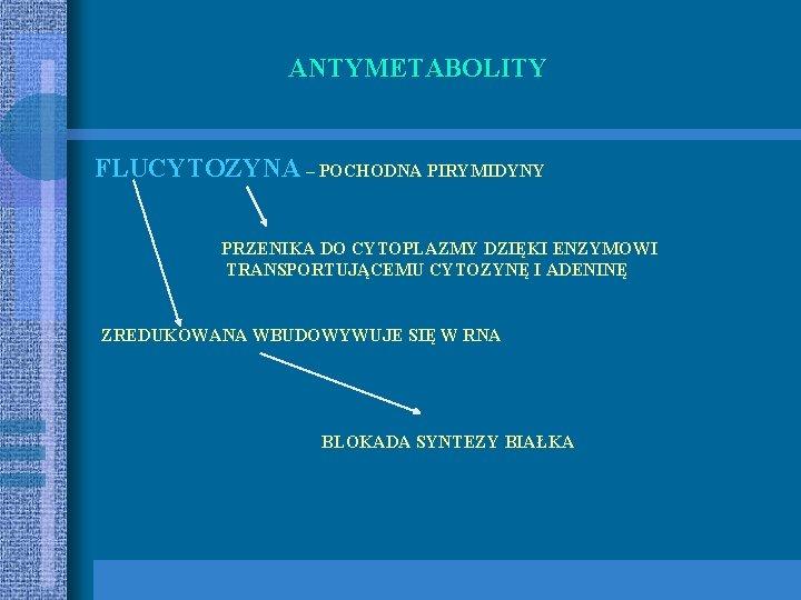 ANTYMETABOLITY FLUCYTOZYNA – POCHODNA PIRYMIDYNY PRZENIKA DO CYTOPLAZMY DZIĘKI ENZYMOWI TRANSPORTUJĄCEMU CYTOZYNĘ I ADENINĘ