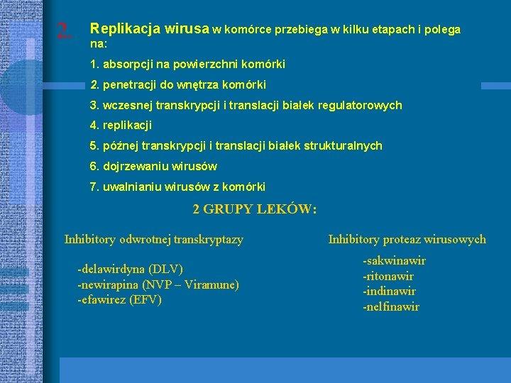 2. Replikacja wirusa w komórce przebiega w kilku etapach i polega na: 1. absorpcji
