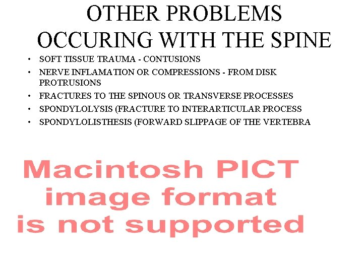 OTHER PROBLEMS OCCURING WITH THE SPINE • SOFT TISSUE TRAUMA - CONTUSIONS • NERVE