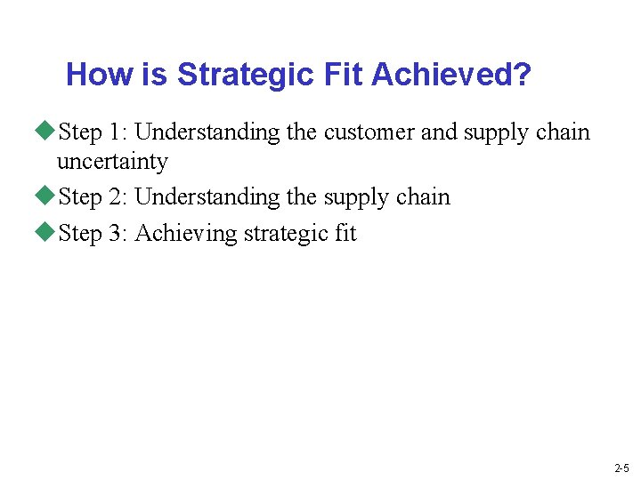 How is Strategic Fit Achieved? u. Step 1: Understanding the customer and supply chain