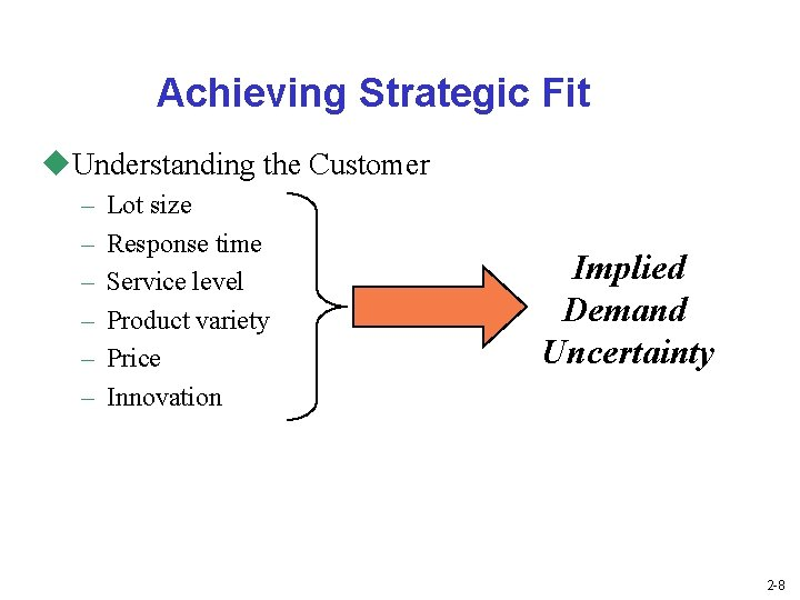 Achieving Strategic Fit u. Understanding the Customer – – – Lot size Response time
