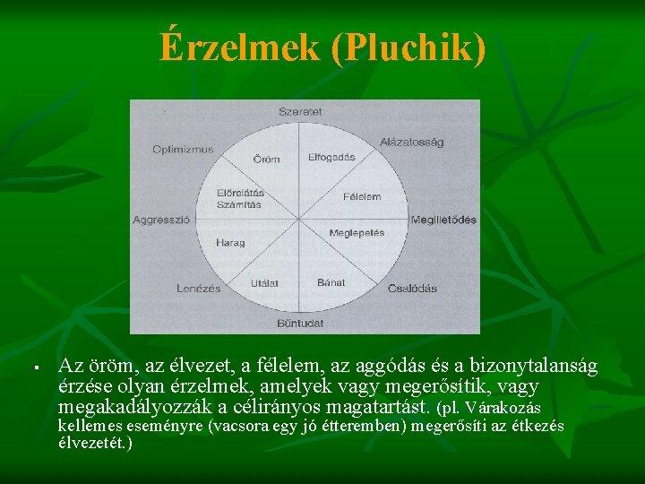 Érzelmek (Pluchik) § Az öröm, az élvezet, a félelem, az aggódás és a bizonytalanság