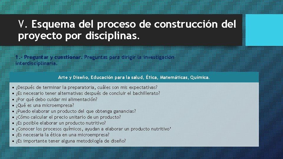 V. Esquema del proceso de construcción del proyecto por disciplinas. 1. - Preguntar y