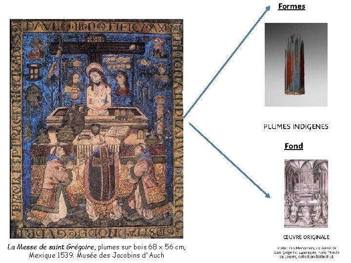 Formes Fond La Messe de saint Grégoire, plumes sur bois 68 x 56 cm,