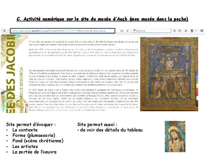 C. Activité numérique sur le site du musée d'Auch (mon musée dans la poche)