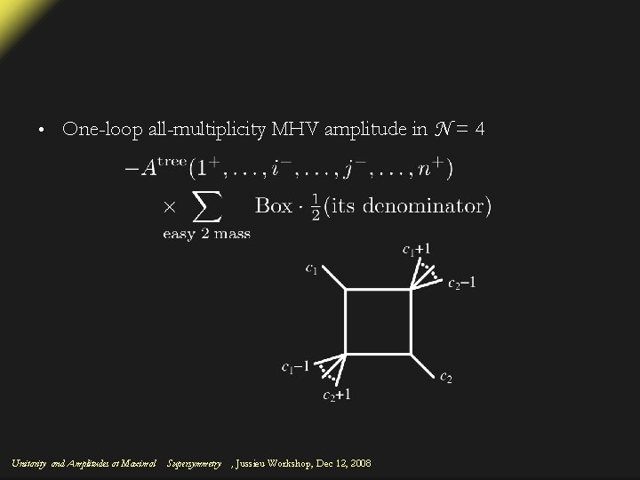 • One-loop all-multiplicity MHV amplitude in N = 4 Unitarity and Amplitudes at