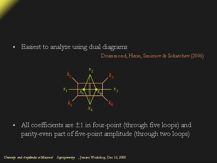 • Easiest to analyze using dual diagrams Drummond, Henn, Smirnov & Sokatchev (2006)