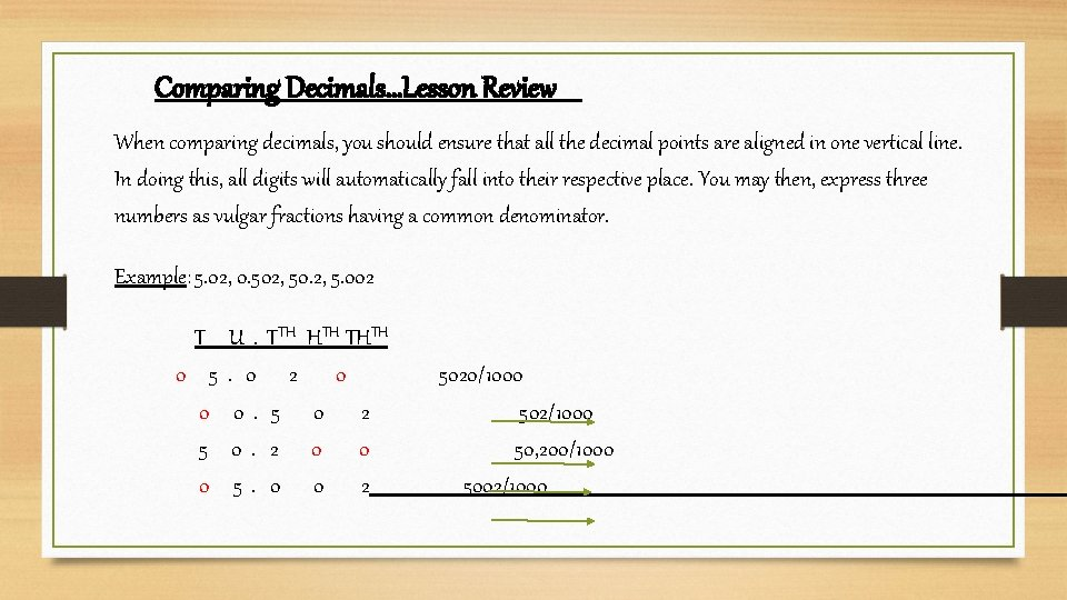 Comparing Decimals…Lesson Review When comparing decimals, you should ensure that all the decimal points
