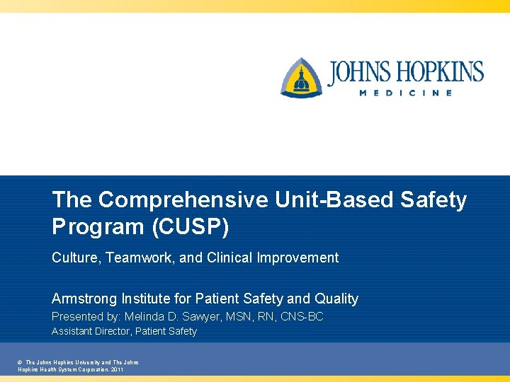 The Comprehensive Unit-Based Safety Program (CUSP) Culture, Teamwork, and Clinical Improvement Armstrong Institute for